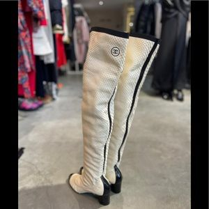 CHANEL python over the knee boots